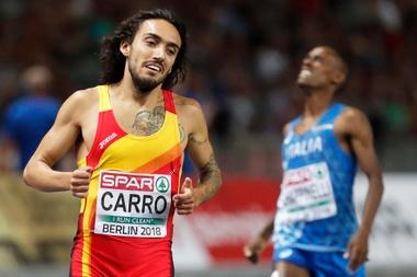 Fernando Carro de España reacciona tras quedar en segundo puesto en la final masculina de 3,000 metros obstáculos el 9 de agosto de 2018 en los Europeos de Berlín. EFE/Christian Bruna/Archivo