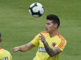 James Rodriguez is back to training with Colombia. EFE