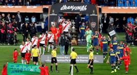 ¿Fue el destino? Una jugada clave de la final de la Libertadores River-Boca se viraliza. EFE