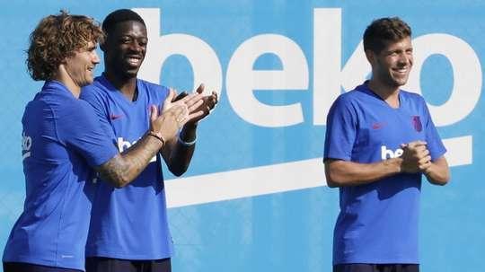 El Barcelona completó una doble sesión este viernes. EFE/Andreu Dalmau