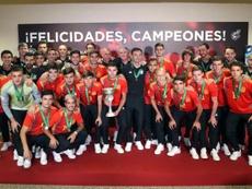 Rubiales recibe a España Sub 19. EFE