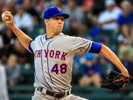En la imagen, el abridor Jacob deGrom de los Mets de Nueva York. EFE/Tannen Maury/Archivo