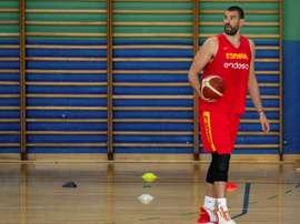 El pívot de la selección española Marc Gasol durante un entrenamiento. EFE/Rodrigo Jiménez/Archivo