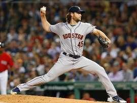 En la imagen, el jugador de los Astros de Houston Gerrit Cole. EFE/Cj Gunther/Archivo