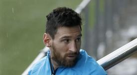 Leo Messi habló en un acto de Adidas. EFE