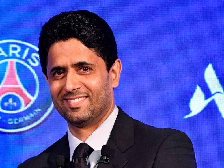 Nasser Al-Khelaïfi habló sobre la llegada de Icardi.  EFE/ Julien De Rosa/Archivo