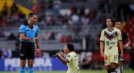 Herrera, molesto con Roger Martínez por su petición de salida. EFE/Francisco Guasco