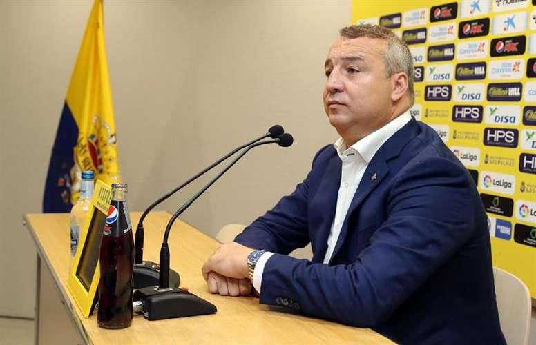 El presidente de Las Palmas ironizó sobre los gritos de dimisión. EFE