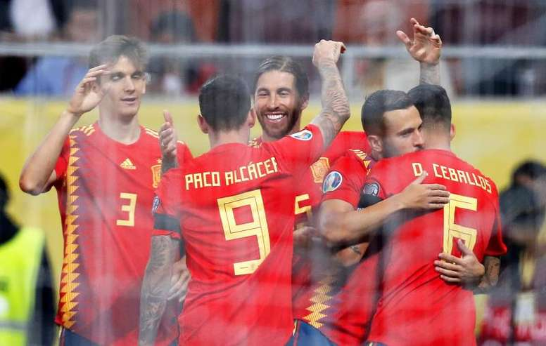 Ramos and Alcacer gave Spain their fifth win of the qualifying campaign. EFE