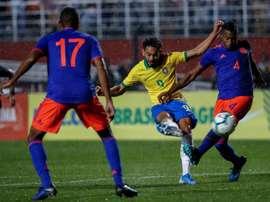 Victoria del campeón olímpico ante Colombia Sub 23. EFE/ Sebastião Moreira