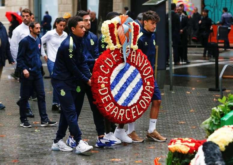 El Espanyol celebró la Diada de Cataluña. EFE
