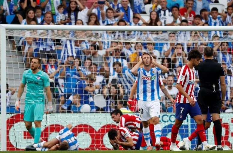 Monreal, casi imposible ante el Espanyol. EFE/Juan Herrero