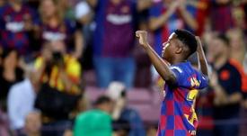 Ansu Fati wants to make history in the Champions League. EFE/Toni Albir
