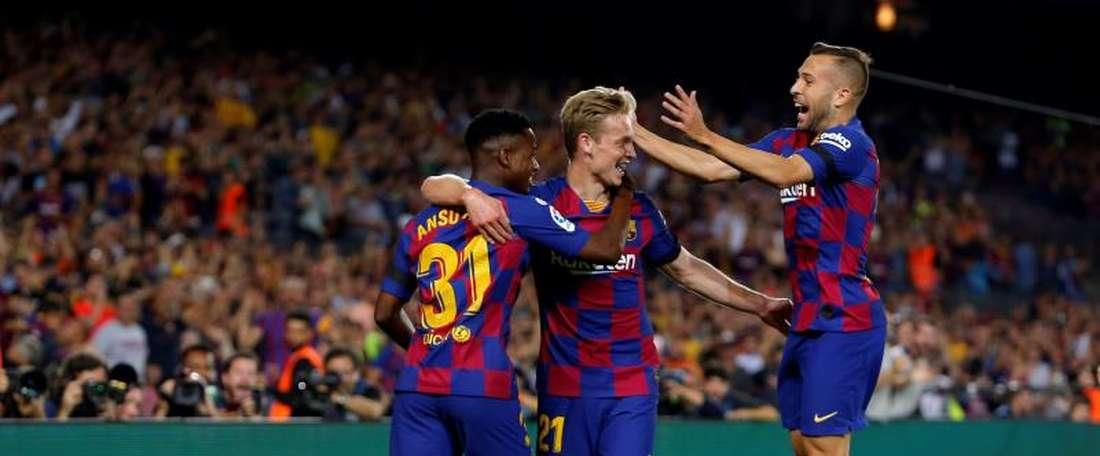 Voltam Jordi Alba e Ansu Fati contra o Sevilla. EFE