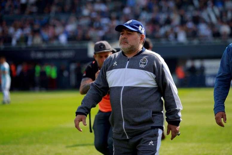 Maradona, feliz de volver a entrenar. EFE