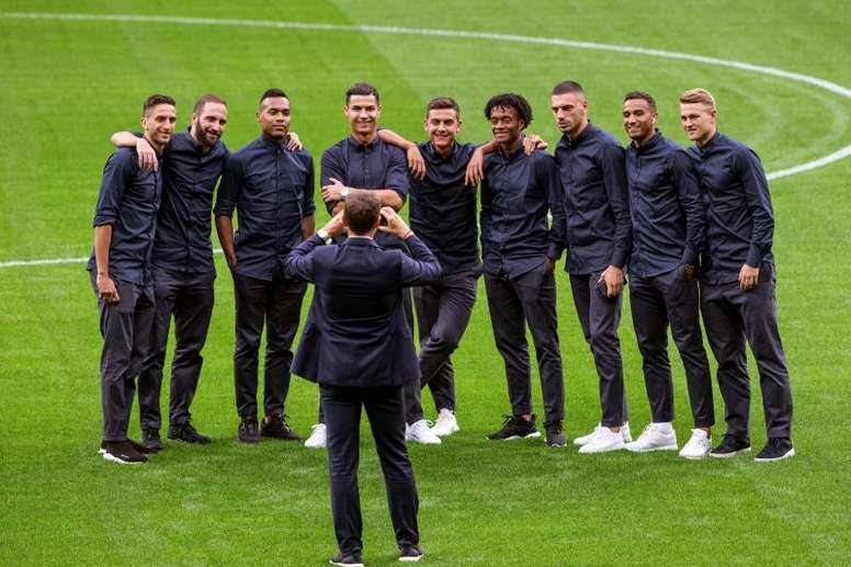 Los jugadores del Juventus, durante la visita al estadio Wanda Metropolitano, en Madrid, donde este miércoles jugará el partido de la primera jornada del grupo D de la Liga de Campeones contra el Atlético de Madrid. EFE/ Rodrigo Jiménez