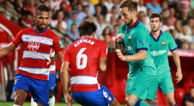 Germán, en el partido de la primera vuelta, fue expulsado en Barcelona. EFE