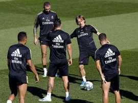 Bale, Modric and Lucas Vazquez, out against Mallorca. EFE
