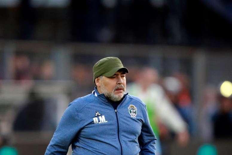 Maradona withdraws and will lead just one more match. EFE/ Demian Alday Estévez/Archivo