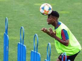 Ansu Fati a réalisé son premier entraînement avec l'Espagne. EFE