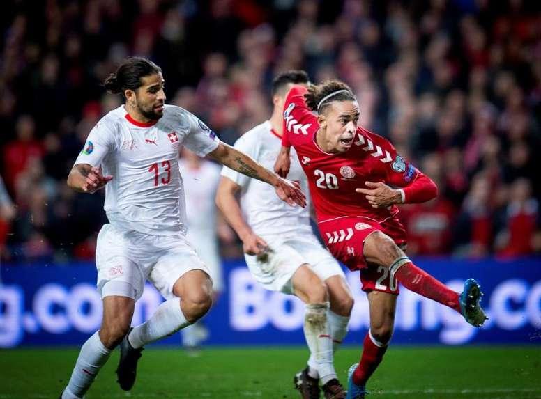 Poulsen marcó el único gol del partido. EFE/EPA/Liselotte Sabroe