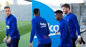 Arthur et Ansu Fati, absents de l'entraînement du Barça. EFE