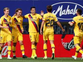 Griezmann, Messi y Suárez ya celebran juntos. EFE