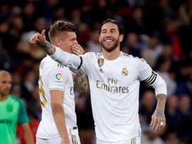 Sergio Ramos esulta per il 2-0 segnato su rigore. EFE