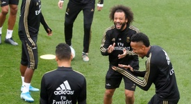Marcelo recorda sua chegada ao Real... 13 anos depois. EFE/ Juan Carlos Hidalgo