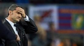 El entrenador del FC Barcelona Ernesto Valverde durante el partido de la fase de grupos de la Liga de Campeones que disputaron ante el Slavia de Praga en el Camp Nou. EFE/Alejandro García