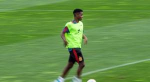 Ansu Fati está treinando com a seleção sub 21. EFE/ Rodrigo Jiménez/Archivo