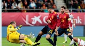 Con este gol a Malta, Morata acumula siete partidos seguidos viendo puerta. EFE