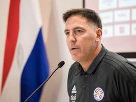 Berizzo dirigió la primera sesión de Paraguay en Riad. EFE