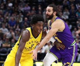 El escolta Ricky Rubio (d) Utah Jazz en acción ante el escolta Aaron Holiday (i) de Indiana Pacers durante un juego de baloncesto de la NBA. EFE/ George Frey/Archivo