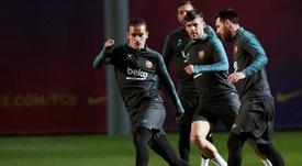Griezmann et Lenglet, de retour à l'entraînement avec le Barça. EFE