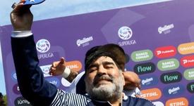 El presidente de Gimnasia confirmó la salida de Maradona. EFE/ Demian Alday Estévez/Archivo