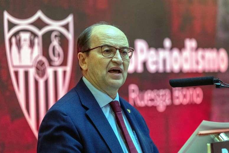 El presidente del Sevilla pidió tranquilidad a la afición. EFE