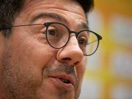 El entrenador del Herbalife Gran Canaria, Fotis Katsikaris, analiza en rueda de prensa el partido que su equipo disputa este fin de semana contra el líder de la Liga Endesa, el Real Madrid. Gran Canaria Arena.EFE/Quique Curbelo