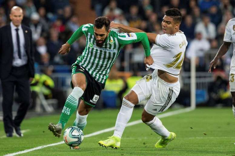 Borja Iglesias descarta celebrar un gol ante el Espanyol. EFE/Rodrigo Jiménez