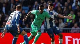 Vinicius reapareció contra el Espanyol tras 28 días ausente. EFE