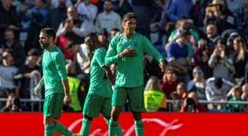 Varane metió su primer gol de la temporada ante el Espanyol. EFE