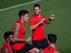 El uruguayo está recuperado y entrenó junto al resto. EFE