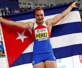 En la imagen un registro de la atleta cubana Yaimé Pérez, medalla de oro en lanzamiento de disco en los Juegos Panamericanos de Lima y en el mundial de Doha. EFE/Valdrin Xhemaj/Archivo