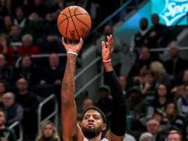 Paul George de Los Angeles Clippers la semana pasada durante un partido de la NBA. EFE/EPA/TANNEN MAURY