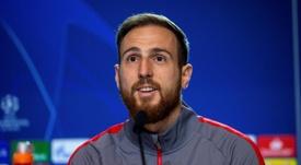 Jan Oblak mostra respeito e motivação para o jogo contra o Liverpool. EFE/Rodrigo Jiménez