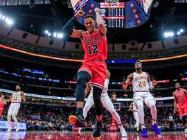 Chicago Bulls forward Daniel Gafford (C) reacts during the NBA game between the Atlanta Hawks and the Chicago Bulls at the United Center in Chicago, Illinois, USA, 11 December 2019. EFE/EPA/TANNEN MAURY SHUTTERSTOCK OUT