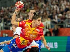La jugadora de la selección española Alicia Fernandez Fraga durante el partido. EFE/EPA/Hiroshi Yamamura
