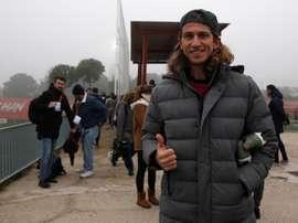 Filipe Luis quiso visitar a sus ex compañeros. EFE