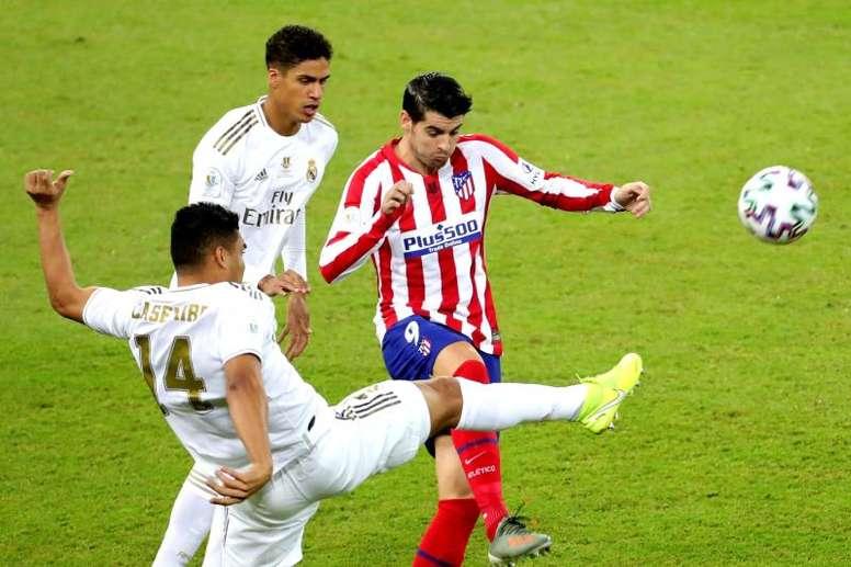 Morata acabó el partido ante el Madrid mareado. EFE/Juanjo Martín