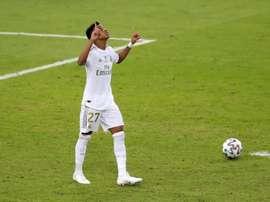 Rodrygo brought up his 100 against Sevilla. EFE/Juanjo Martin